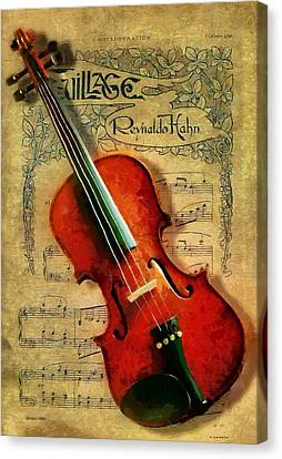 Canvas Print featuring the painting Violin And Notes by Kai Saarto
