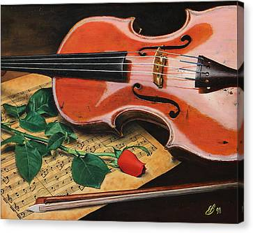 Canvas Print featuring the painting Violin And Rose by Glenn Beasley