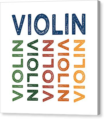 Violin Cute Colorful Canvas Print by Flo Karp