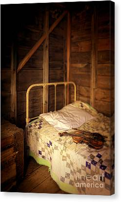 Violin On Bed Canvas Print