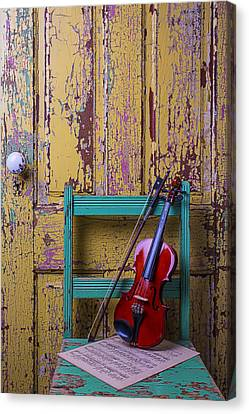Concert Images Canvas Print - Violin On Worn Green Chair by Garry Gay