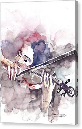 Canvas Print featuring the painting Violin Prelude by Faruk Koksal