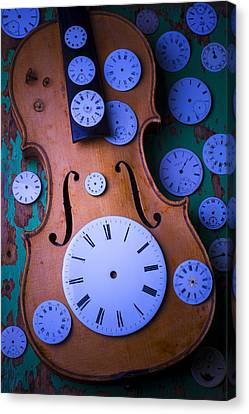 Violin With Watch Faces Canvas Print