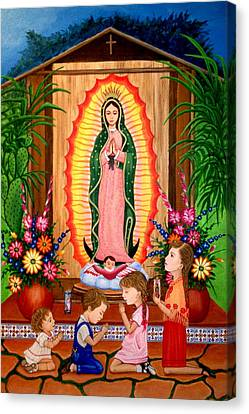 Canvas Print featuring the painting Virgen De Guadalupe #3 by Evangelina Portillo