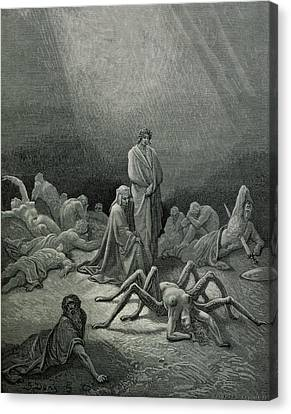 Virgil And Dante Looking At The Spider Woman, Illustration From The Divine Comedy Canvas Print by Gustave Dore