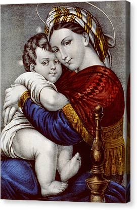 Sacred Artwork Canvas Print - Virgin And Child Circa 1856  by Aged Pixel