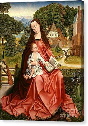 Virgin And Child In A Landscape Canvas Print by Master of the Embroidered Foliage