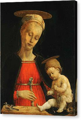 Jesus With A Child Canvas Print - Virgin And Child With A Bird And A Cat by Giovanni Martino Spanzotti