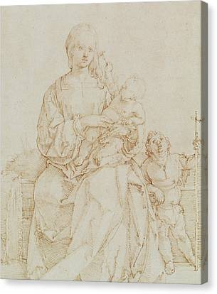 Virgin And Child With Infant St John Canvas Print by Albrecht Durer or Duerer