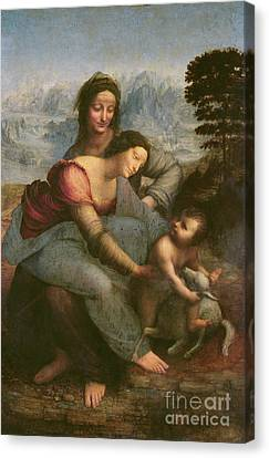 Virgin And Child With Saint Anne Canvas Print by Leonardo Da Vinci