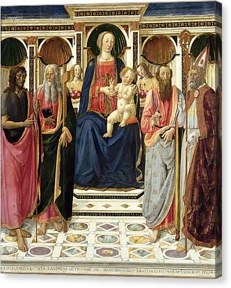Virgin And Child With John The Baptist, Andrew, Bartholomew And Zenobius, 1478 Canvas Print by Cosimo Rosselli