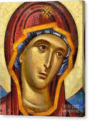 Sacred Canvas Print - Virgin - Detail by Dragica  Micki Fortuna