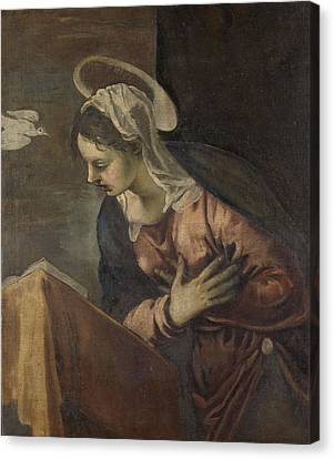 Virgin From The Annunciation To The Virgin Canvas Print by Litz Collection