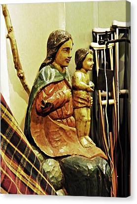 Crutch Canvas Print - Virgin Mary And Crutches by Sarah Loft