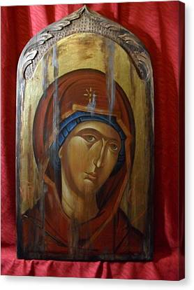 Virgin Mary Byzantine Icon Canvas Print by Lefteris Skaliotis