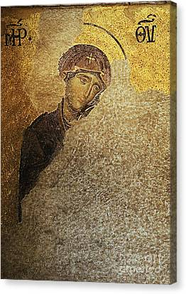Virgin Mary-detail Of Deesis Mosaic  Hagia Sophia-day Of Judgement Canvas Print by Urft Valley Art