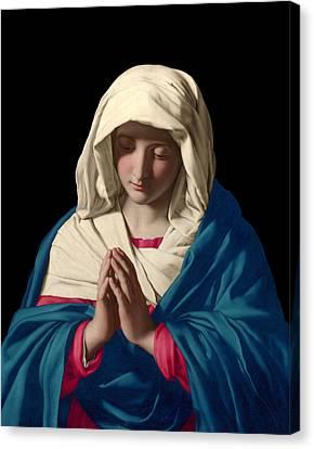 Canvas Print featuring the digital art Virgin Mary In Prayer by Sassoferrato