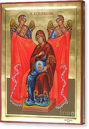 Panagia Canvas Print - Virgin Mary In Pregnancy by Theodoros Patrinos