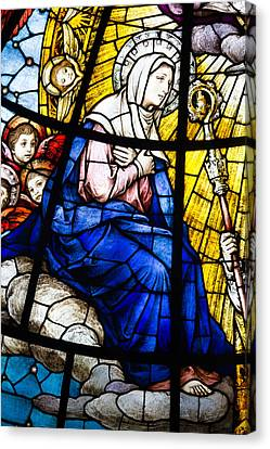 Virgin Mary In Stained Glass Canvas Print by Dancasan Photography