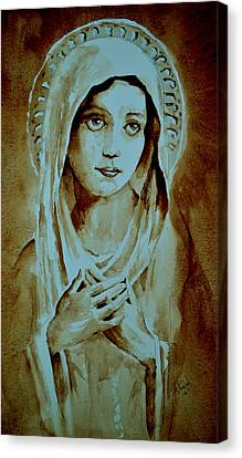 Canvas Print featuring the painting Virgin Mary by Steven Ponsford