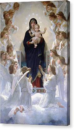 Canvas Print featuring the digital art Virgin Mary With Angels by Bouguereau
