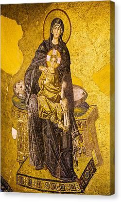 Virgin Mary With Baby Jesus Mosaic Canvas Print by Artur Bogacki