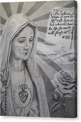 Virgin Mary With Flower Canvas Print by Anthony Gonzalez
