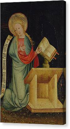 Virgin Of The Annunciation, From The Harvester Altar, C.1410 Tempera On Oak See Also 145253 Canvas Print by Master Bertram of Minden