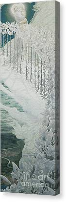 Virgin Of The Lilies Canvas Print by Carlos Schwabe
