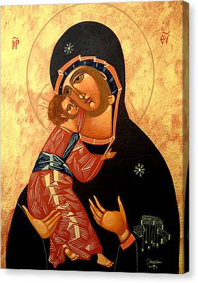 Russian Icon Canvas Print - Virgin Of Vladimir by Joseph Malham