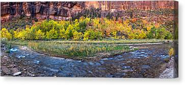 Virgin River At Big Bend, Zion National Canvas Print by Panoramic Images