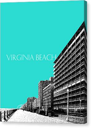 Virginia Beach Skyline Boardwalk  - Aqua Canvas Print