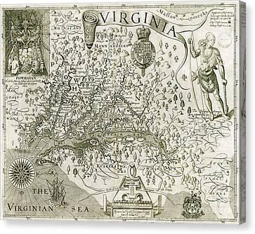 Virginia Canvas Print - Virginia Map 1606 by Jon Neidert