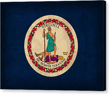 Virginia State Flag Art On Worn Canvas Canvas Print by Design Turnpike