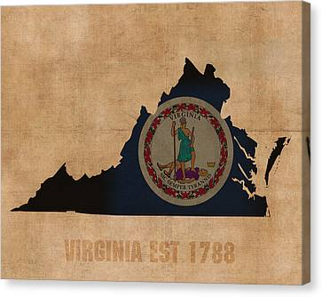 Virginia State Flag Map Outline With Founding Date On Worn Parchment Background Canvas Print by Design Turnpike