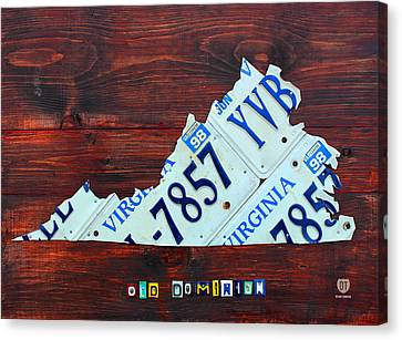 Virginia State License Plate Map Art On Fruitwood Old Dominion Canvas Print by Design Turnpike