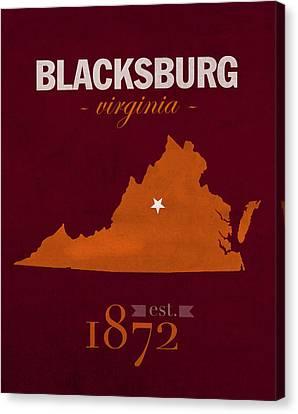Virginia Tech University Hokies Blacksburg College Town State Map Poster Series No 120 Canvas Print