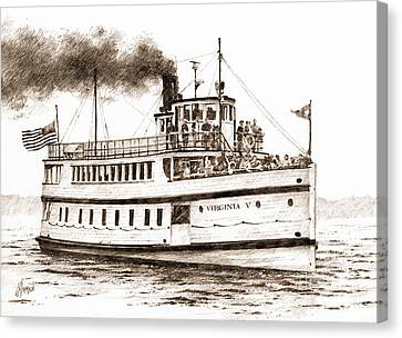 Virginia V Steamship Sepia Canvas Print