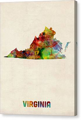 Virginia Watercolor Map Canvas Print by Michael Tompsett