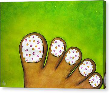 Virtual Pedicure Canvas Print by Oiyee At Oystudio
