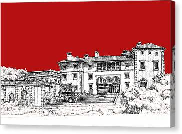 Viscaya Museuem And Gardens In Scarlet Canvas Print