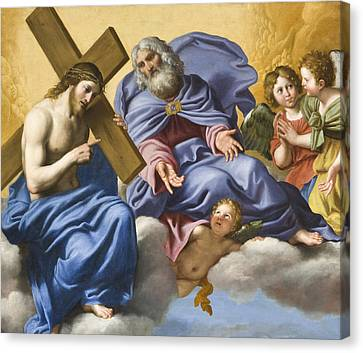 Vision Of Christ And God Detail Canvas Print by Domenico Zampieri