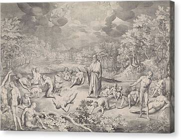 Vision Of Ezekiel Across The Valley Of Bones Canvas Print by Nicolaes De Bruyn