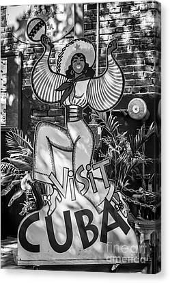 Cuba Canvas Print - Visit Cuba Sign Key West - Black And White by Ian Monk