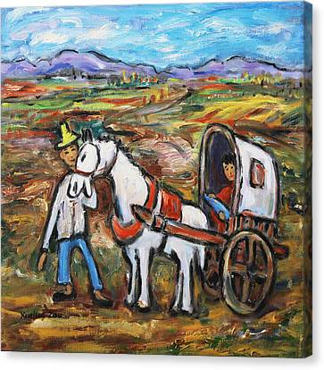 Canvas Print featuring the painting Visit The In-laws by Xueling Zou