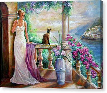 Visit With A Furry Friend Canvas Print by Regina Femrite