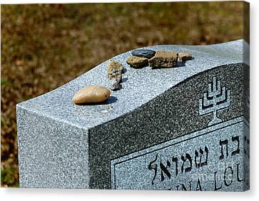Visitation Stones On Jewish Grave Canvas Print by Amy Cicconi