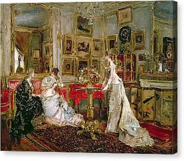 Visiting Canvas Print by Alfred Emile Stevens