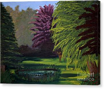 Visitor To The Backyard Pond Canvas Print by Vicki Maheu