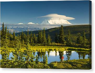 Visitor Viewing The Northside Of Mt Canvas Print by Michael DeYoung